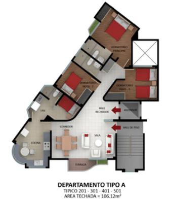 Planos tipo a b departamento moderno edificio los jardines for Edificio de departamentos planos
