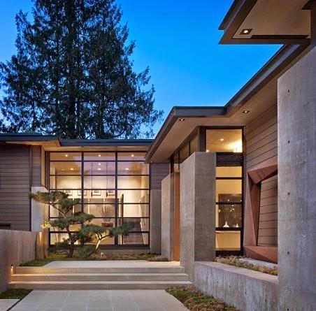 Casa washington park hormig n acero y madera conard for Casas modernas hormigon visto