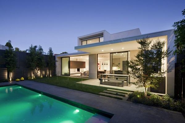 Casa malvern de fachada minimalista lubelso arquitectura for Fachada minimalista una planta