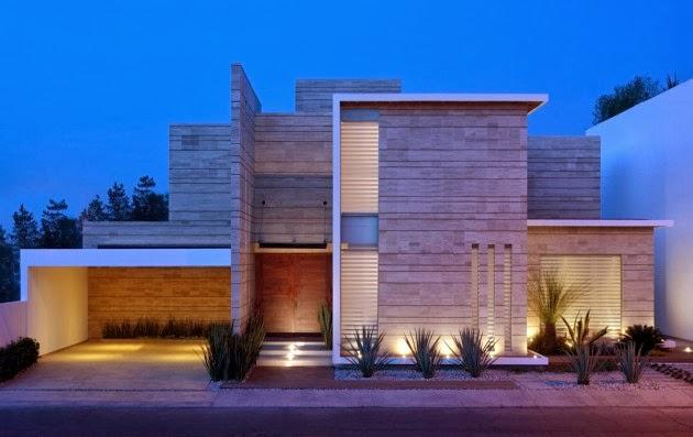 Fachada moderna con marmol navona ji studio m xico for Fachadas de casas modernas 2013