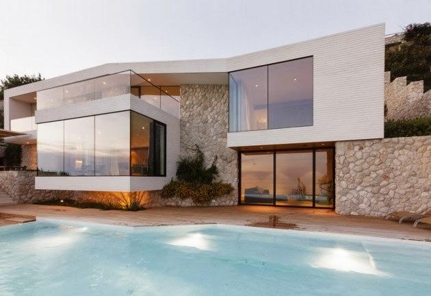 Casa v2 moderna fachada de piedra blanca 3lhd architects - Casas blancas modernas ...