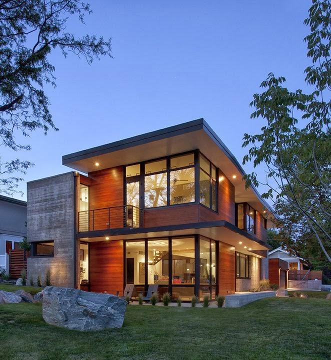 Casa dihedral fachadas de hormigon y madera por arch 11 for Arquitectura contemporanea casas