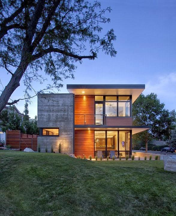 casa dihedral fachadas de hormigon y madera por arch 11