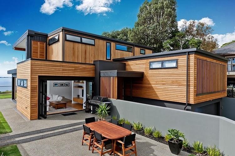 fachada madera y acero casa rothesay bay creative arch