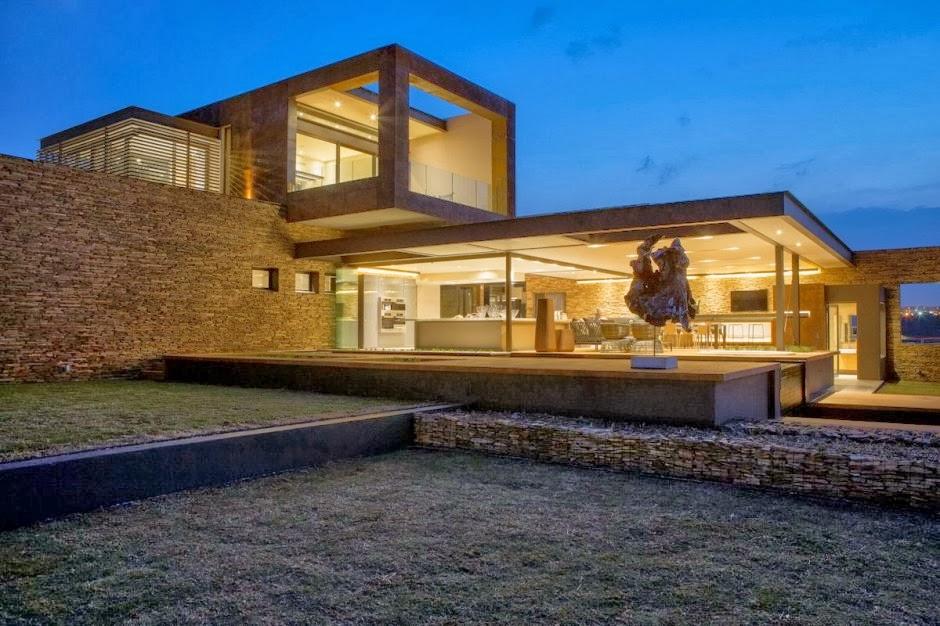 El lujo en acero y piedra casa boz nico van der meulen - Casas de piedra modernas ...