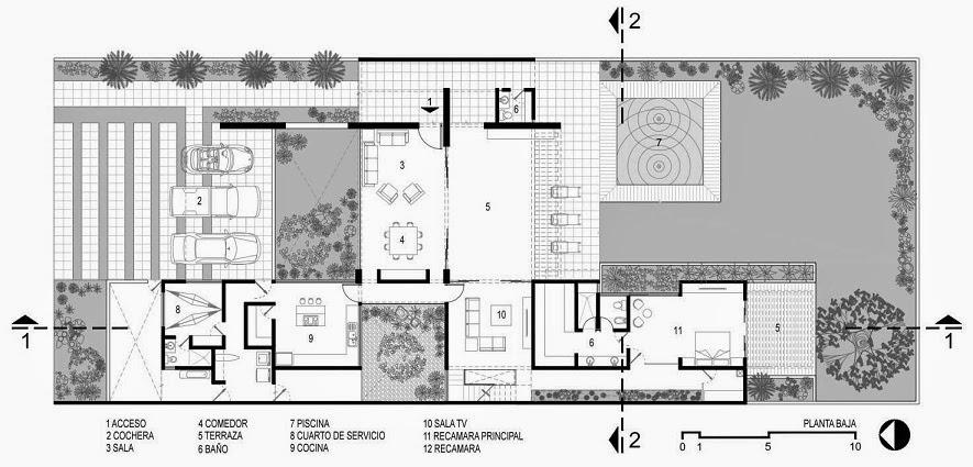 Casa minimalista dise o moderno de l neas puras arquitexs for Planos de casa minimalista una planta