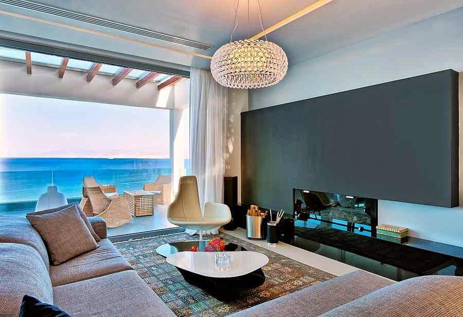 Casa de playa en isla creta con vistas al mar egeo arquitexs - Salones de casa modernos ...