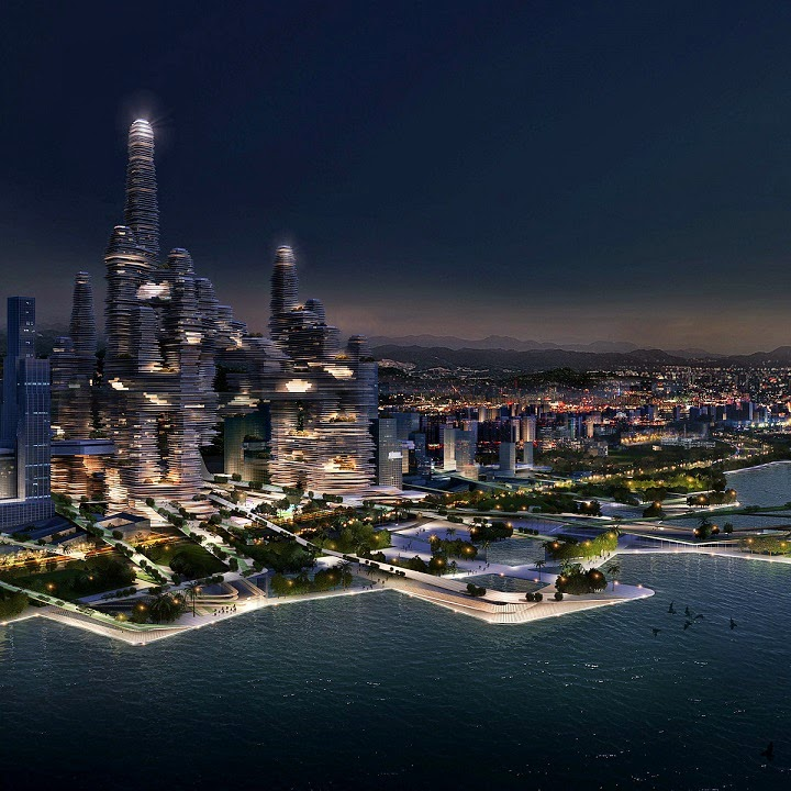 "Diseño futurista ""Cloud Citizen"" concurso ""Super City Competition"" Shenzhen."