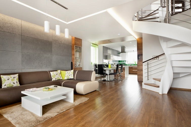 Dise o interior apartamento d plex en sosnowiec for Escaleras duplex fotos