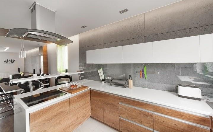 Dise o interior apartamento d plex en sosnowiec for Cocinas de apartamentos modernos