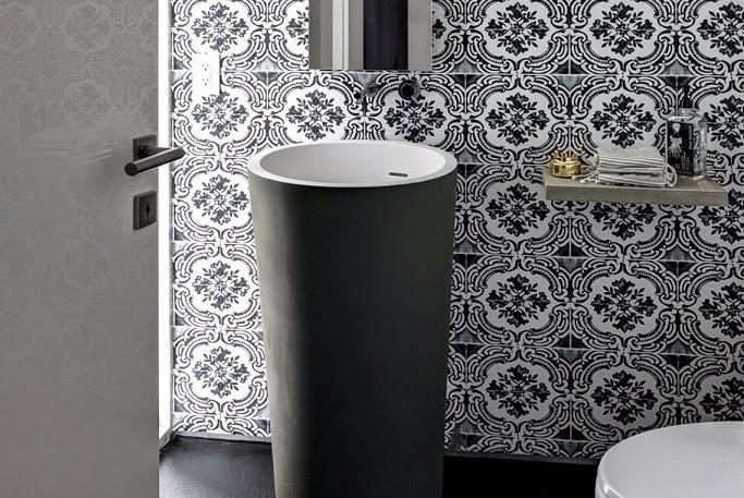 decoracion-baño-blanco-negro