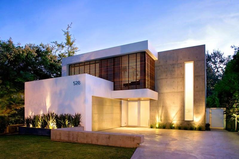 fachada-hormigon-casa-minimalista Santa Monica California