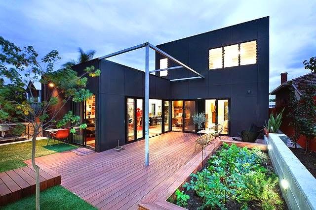 south terrace casa moderna de fachadas negras arquitexs