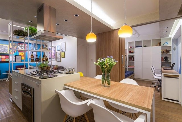 Apartamento moderno en 70 m2 arquitexs for Cocinas de 15 metros cuadrados
