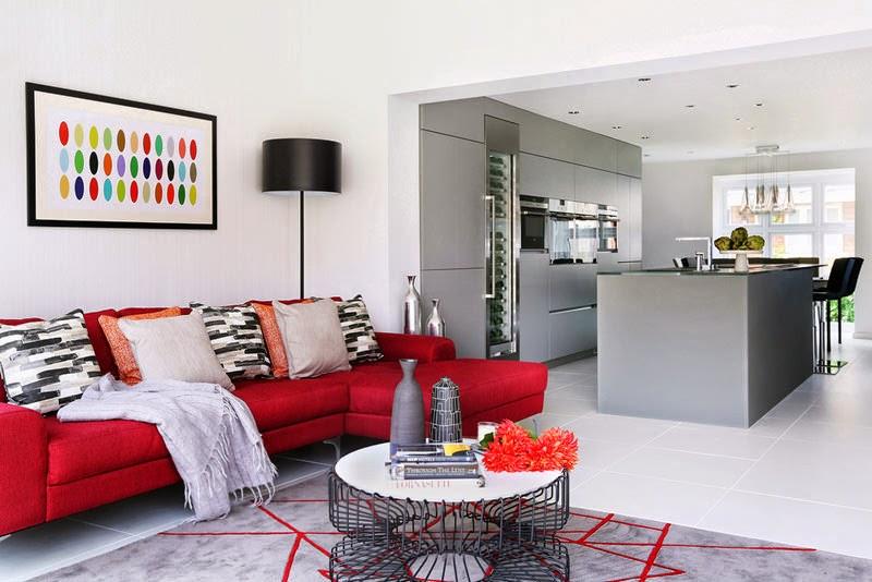 Decoraci n casa de familia en rojo y gris elegancia y for Decoracion y hogar bogota