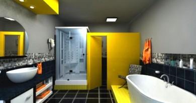 bano-moderno-negro-amarillo
