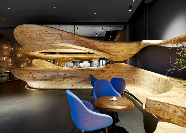 Restaurante diseñado en Madera con formas organicas Taiwán