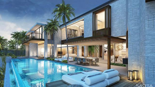 Casa hk bbq gardens dise o en cascada for Casas modernas con piscina interior