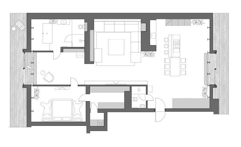 plano apartamento contemporáneo