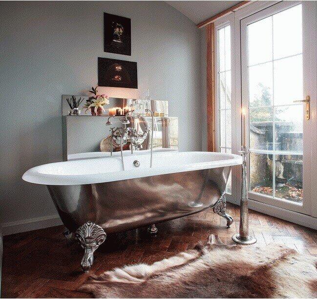 Baño Vintage Moderno:Bañeras con patas en baños modernos de estilo vintage