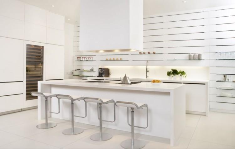 cocina-moderna-isla-blanca Cocinas modernas pequeñas
