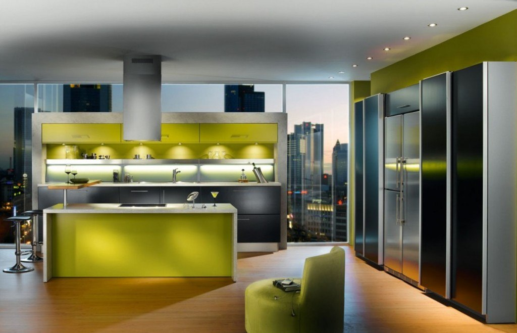 cocina moderna minimalista en color amarillo