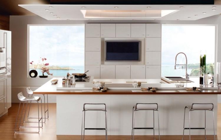 cocina-con-isla-moderna Cocinas modernas pequeñas