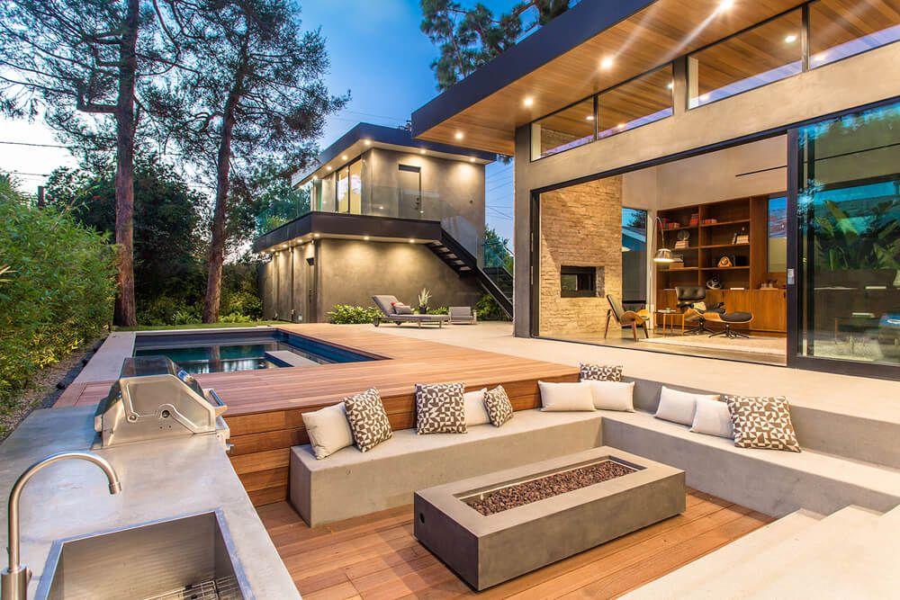 Piscina terraza barbacoa casa moderna arquitexs - Terrazas de casas modernas ...