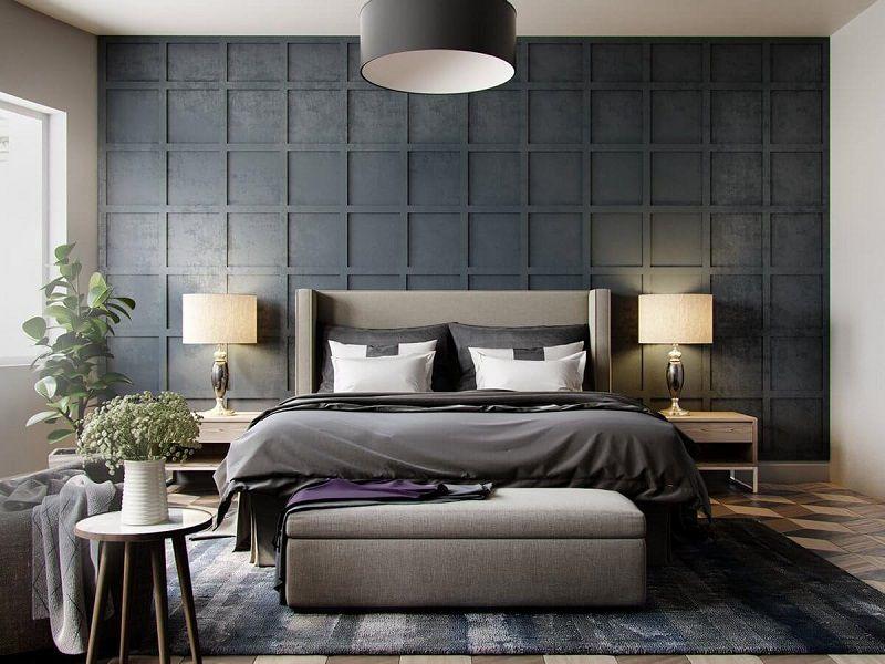 25 elegantes dormitorios de matrimonio en tonos grises for Cortinas gris plata
