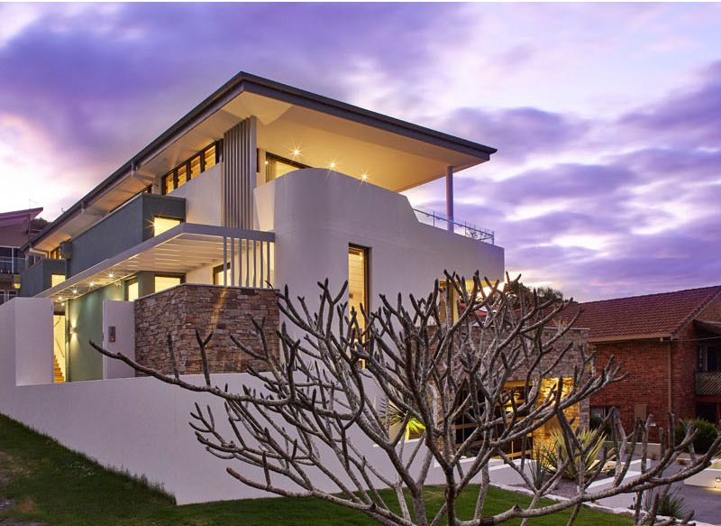 moderna casa con fachada de piedra en australia arquitexs