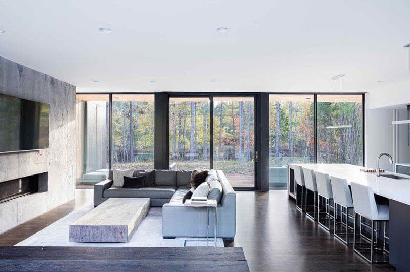Nueva Casa Contemporánea Rodeada De árboles Con Vista A Un Estanque De Bosques